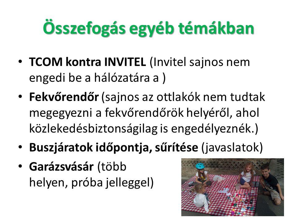 Összefogás egyéb témákban • TCOM kontra INVITEL (Invitel sajnos nem engedi be a hálózatára a ) • Fekvőrendőr (sajnos az ottlakók nem tudtak megegyezni
