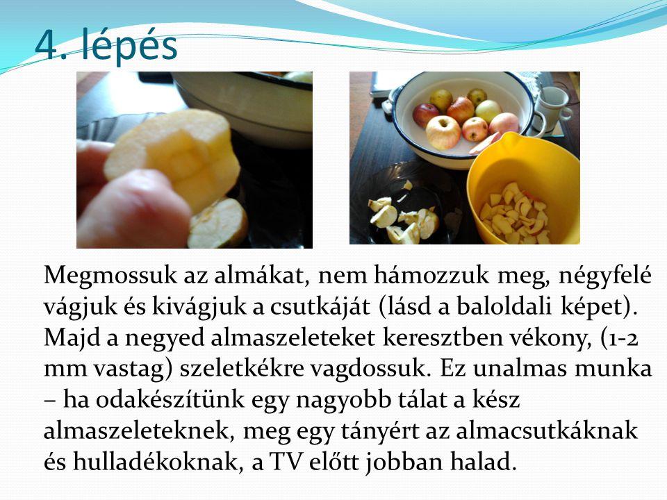 4. lépés Megmossuk az almákat, nem hámozzuk meg, négyfelé vágjuk és kivágjuk a csutkáját (lásd a baloldali képet). Majd a negyed almaszeleteket keresz