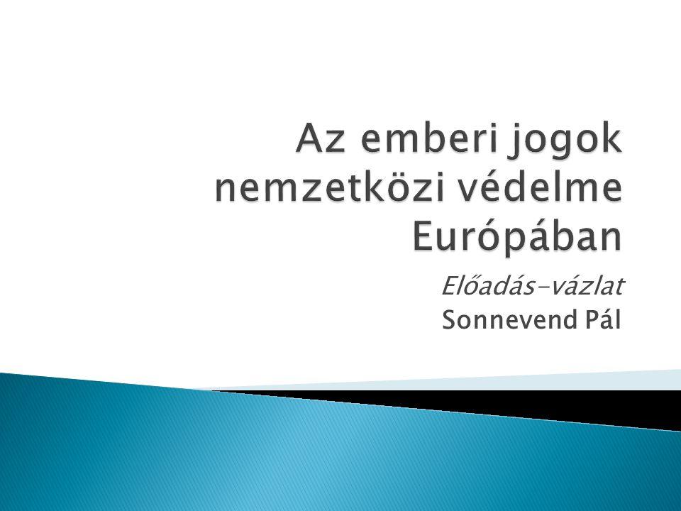 Előadás-vázlat Sonnevend Pál