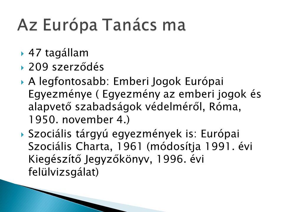  47 tagállam  209 szerződés  A legfontosabb: Emberi Jogok Európai Egyezménye ( Egyezmény az emberi jogok és alapvető szabadságok védelméről, Róma, 1950.