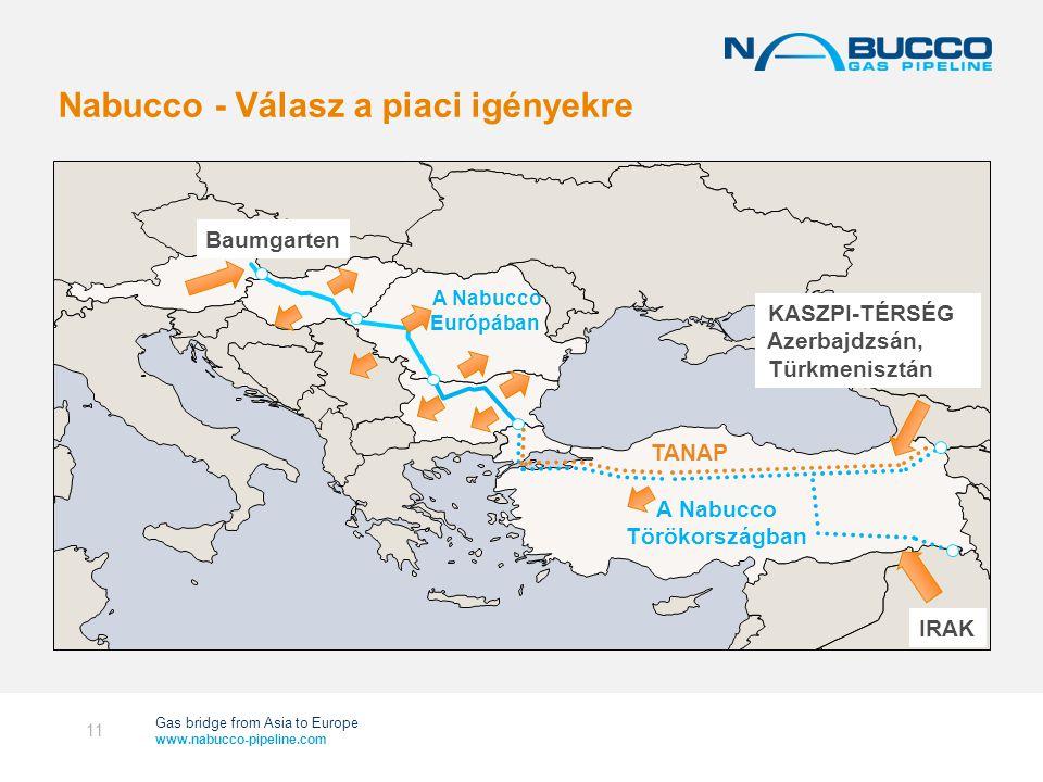 Gas bridge from Asia to Europe www.nabucco-pipeline.com Nabucco - Válasz a piaci igényekre 11 Baumgarten A Nabucco Törökországban A Nabucco Európában TANAP IRAK KASZPI-TÉRSÉG Azerbajdzsán, Türkmenisztán