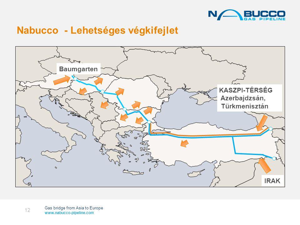 Gas bridge from Asia to Europe www.nabucco-pipeline.com Nabucco - Lehetséges végkifejlet 12 KASZPI-TÉRSÉG Azerbajdzsán, Türkmenisztán Baumgarten IRAK