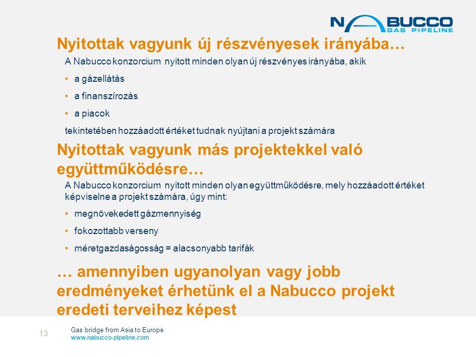 Gas bridge from Asia to Europe www.nabucco-pipeline.com Nyitottak vagyunk új részvényesek irányába… A Nabucco konzorcium nyitott minden olyan új részvényes irányába, akik •a gázellátás •a finanszírozás •a piacok tekintetében hozzáadott értéket tudnak nyújtani a projekt számára 13 Nyitottak vagyunk más projektekkel való együttműködésre… A Nabucco konzorcium nyitott minden olyan együttműködésre, mely hozzáadott értéket képviselne a projekt számára, úgy mint: •megnövekedett gázmennyiség •fokozottabb verseny •méretgazdaságosság = alacsonyabb tarifák … amennyiben ugyanolyan vagy jobb eredményeket érhetünk el a Nabucco projekt eredeti terveihez képest