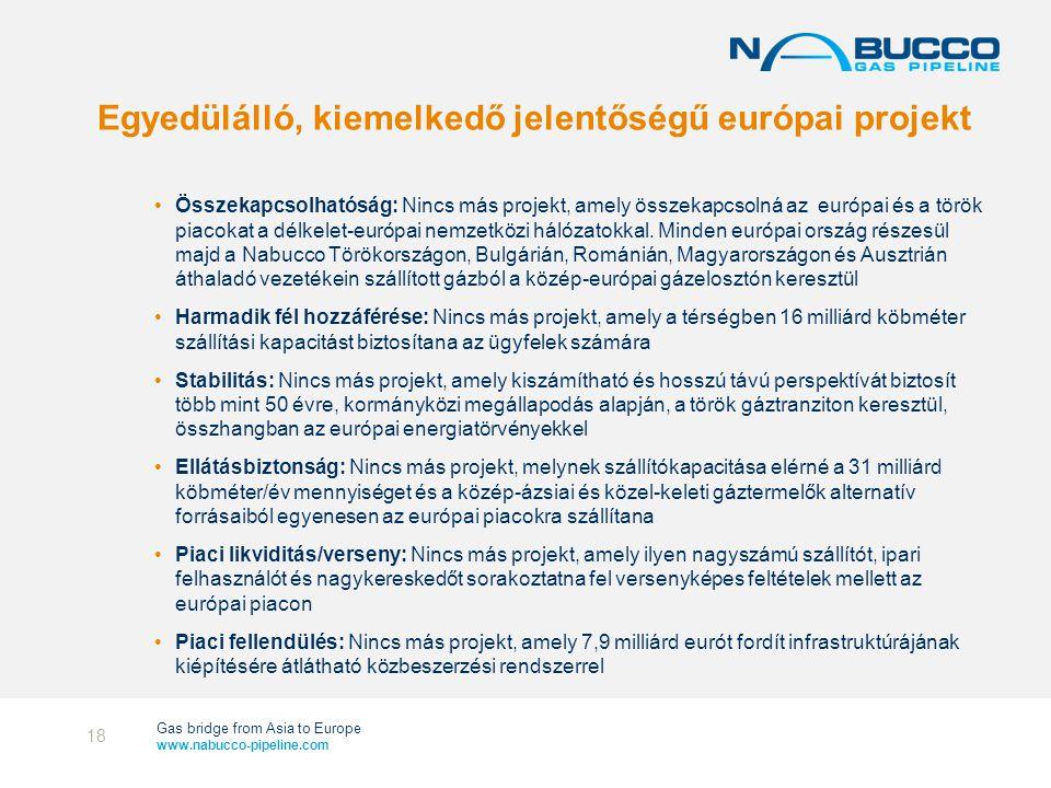 Gas bridge from Asia to Europe www.nabucco-pipeline.com Egyedülálló, kiemelkedő jelentőségű európai projekt •Összekapcsolhatóság: Nincs más projekt, amely összekapcsolná az európai és a török piacokat a délkelet-európai nemzetközi hálózatokkal.