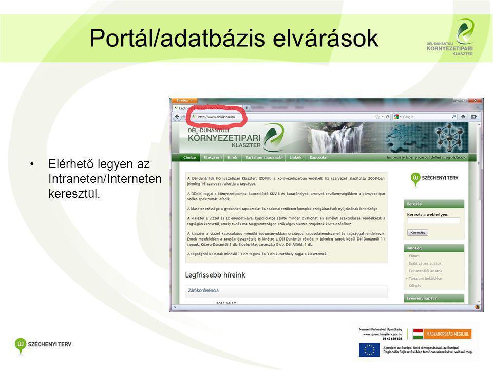 Portál/adatbázis elvárások •Elérhető legyen az Intraneten/Interneten keresztül.