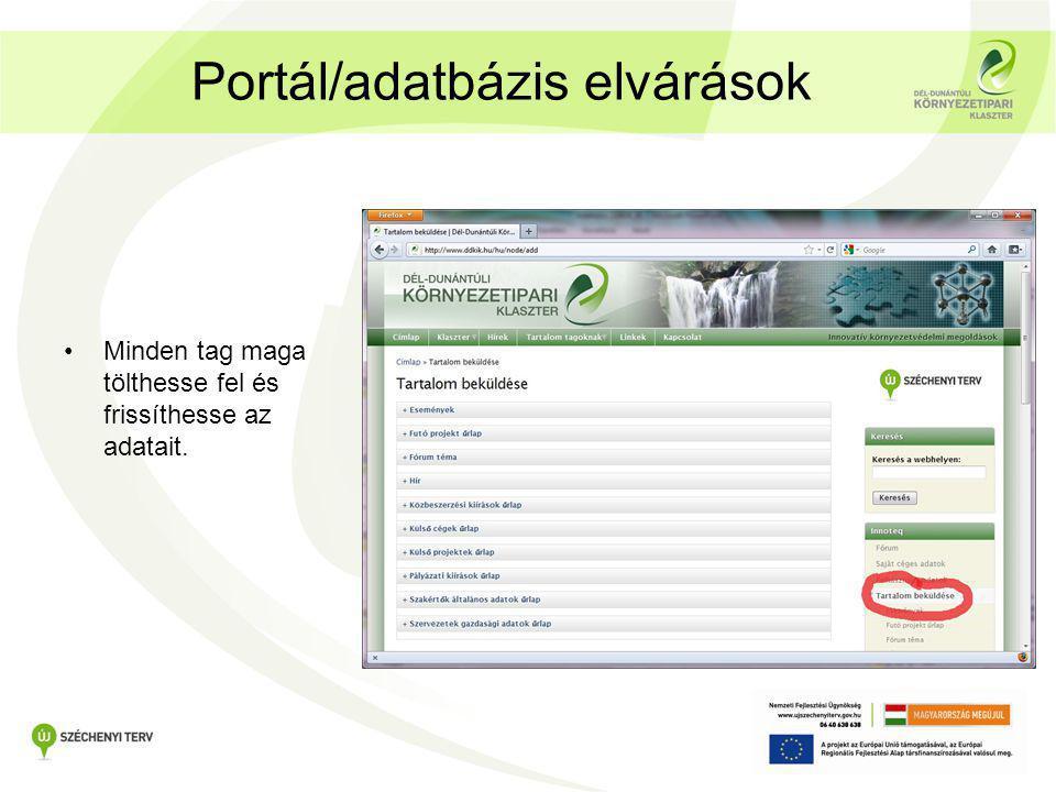 Portál/adatbázis elvárások •Minden tag maga tölthesse fel és frissíthesse az adatait.