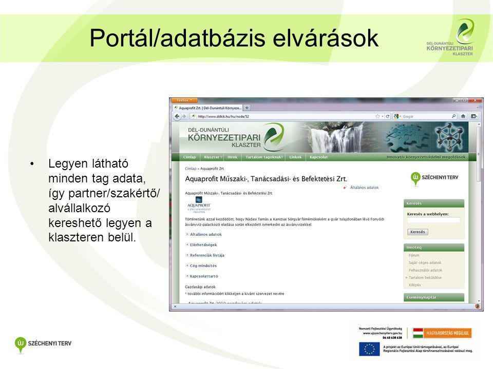 Portál/adatbázis elvárások •Legyen látható minden tag adata, így partner/szakértő/ alvállalkozó kereshető legyen a klaszteren belül.