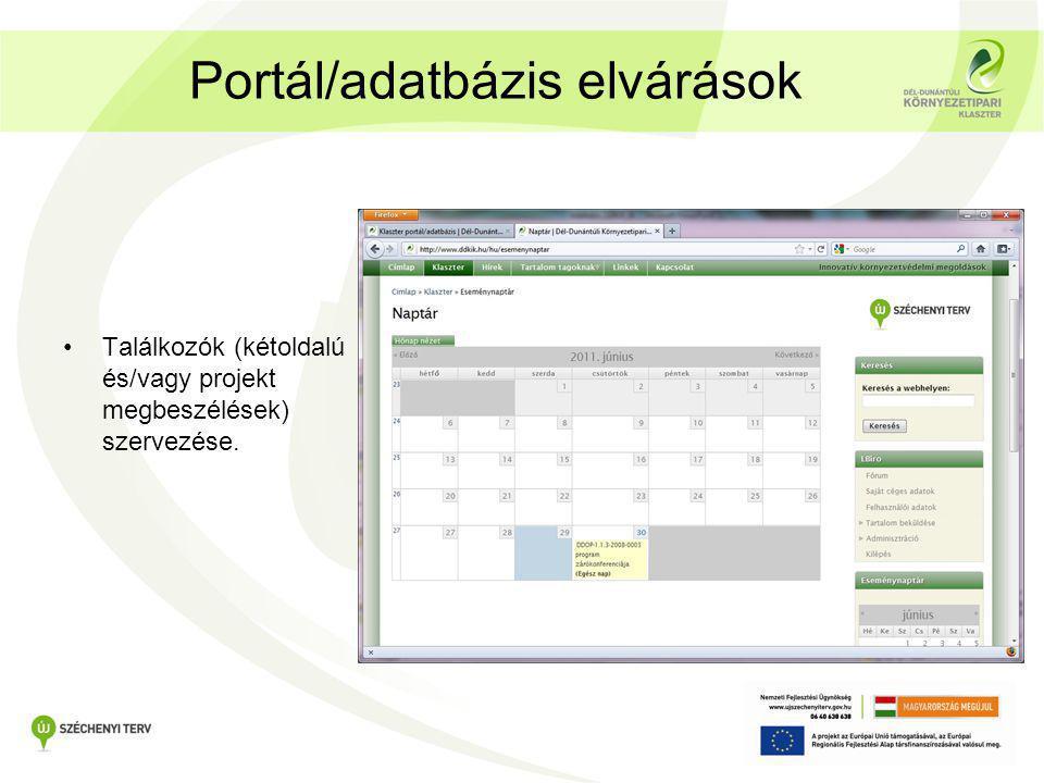 Portál/adatbázis elvárások •Találkozók (kétoldalú és/vagy projekt megbeszélések) szervezése.