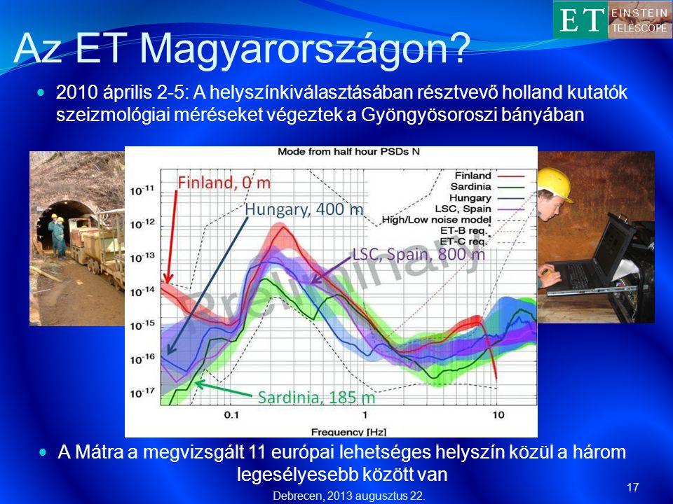 Az ET Magyarországon?  2010 április 2-5: A helyszínkiválasztásában résztvevő holland kutatók szeizmológiai méréseket végeztek a Gyöngyösoroszi bányáb