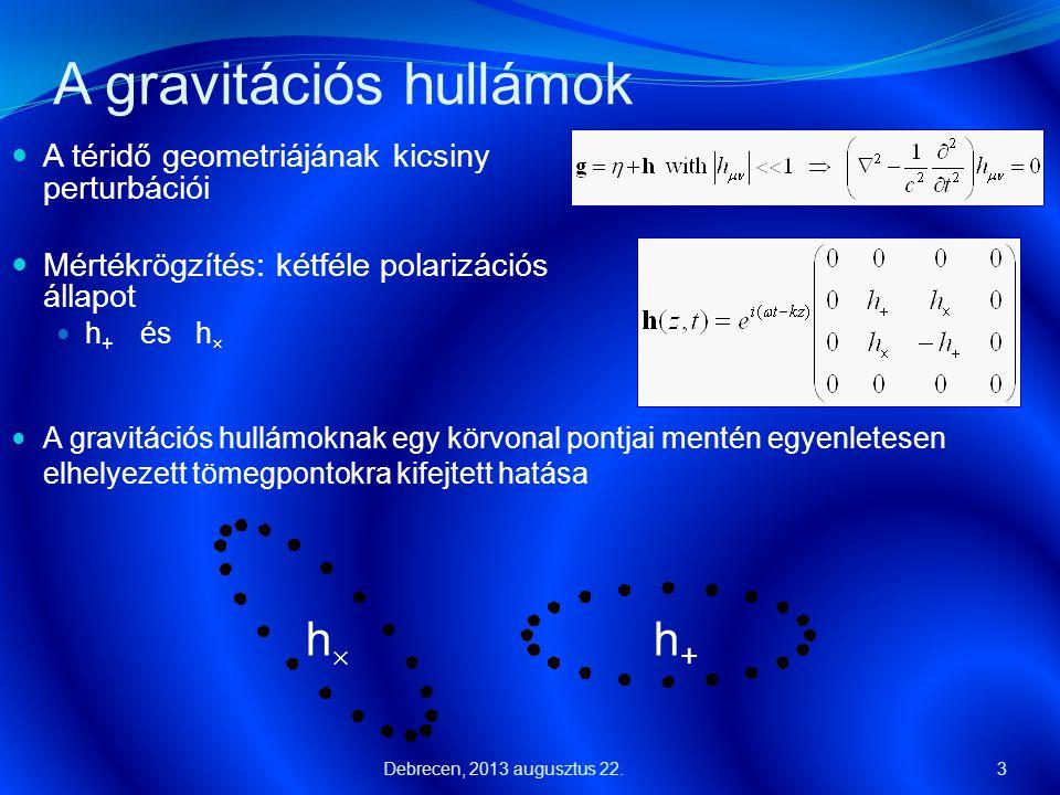 A gravitációs hullámok  A téridő geometriájának kicsiny perturbációi  Mértékrögzítés: kétféle polarizációs állapot  h + és h  3  A gravitációs hu