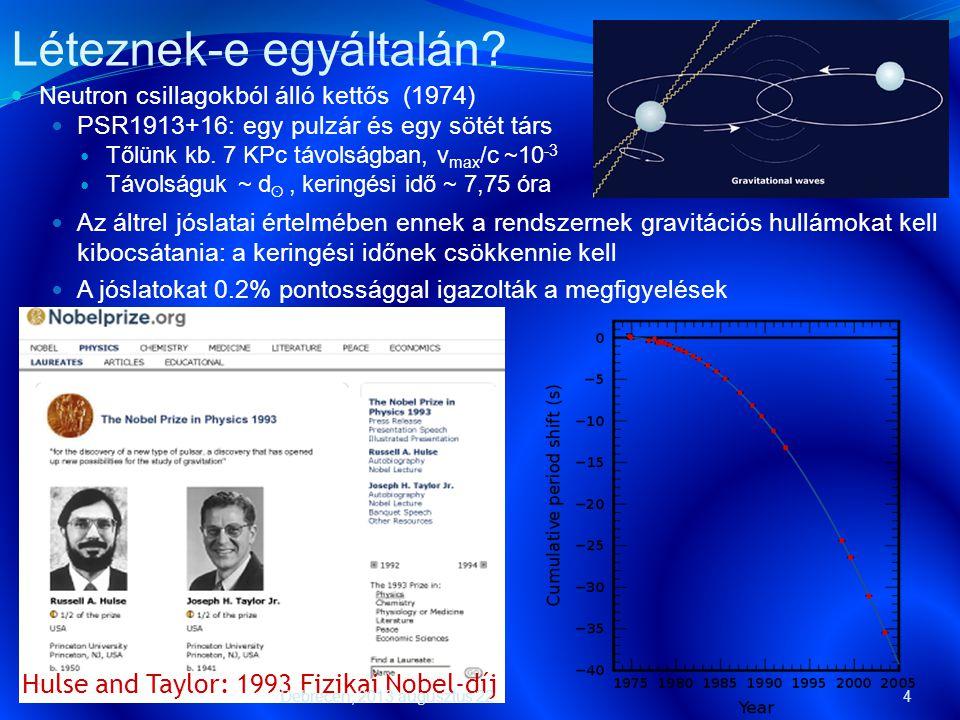 4  Neutron csillagokból álló kettős (1974)  PSR1913+16: egy pulzár és egy sötét társ  Tőlünk kb. 7 KPc távolságban, v max /c ~10 -3  Távolságuk ~