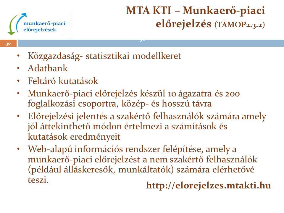 30 MTA KTI – Munkaerő-piaci előrejelzés (TÁMOP2.3.2) •Közgazdaság- statisztikai modellkeret •Adatbank •Feltáró kutatások •Munkaerő-piaci előrejelzés k