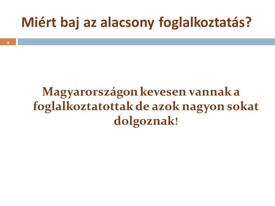 Miért baj az alacsony foglalkoztatás? 4 Magyarországon kevesen vannak a foglalkoztatottak de azok nagyon sokat dolgoznak !