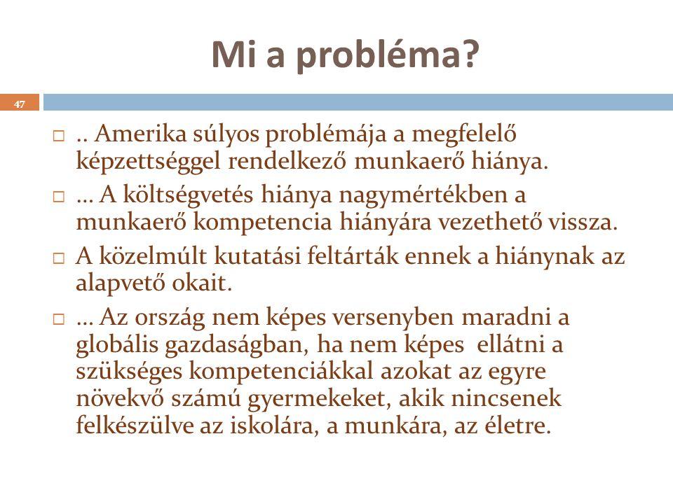 Mi a probléma? 47 .. Amerika súlyos problémája a megfelelő képzettséggel rendelkező munkaerő hiánya.  … A költségvetés hiánya nagymértékben a munkae