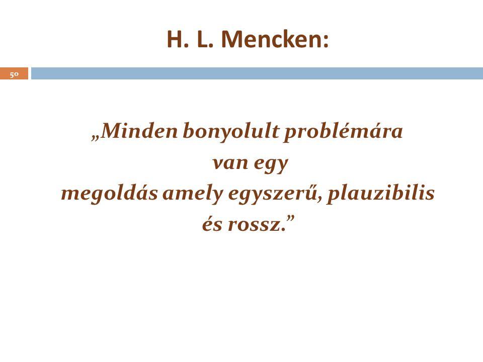 """H. L. Mencken: 50 """"Minden bonyolult problémára van egy megoldás amely egyszerű, plauzibilis és rossz."""""""