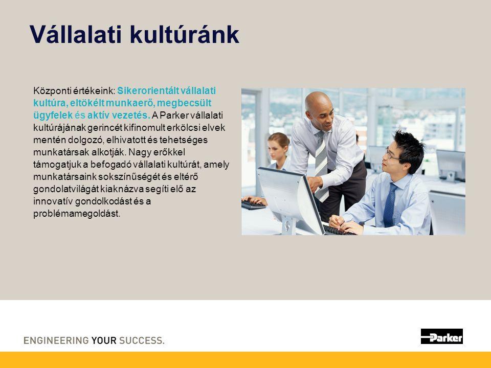 Vállalati kultúránk Központi értékeink: Sikerorientált vállalati kultúra, eltökélt munkaerő, megbecsült ügyfelek és aktív vezetés.