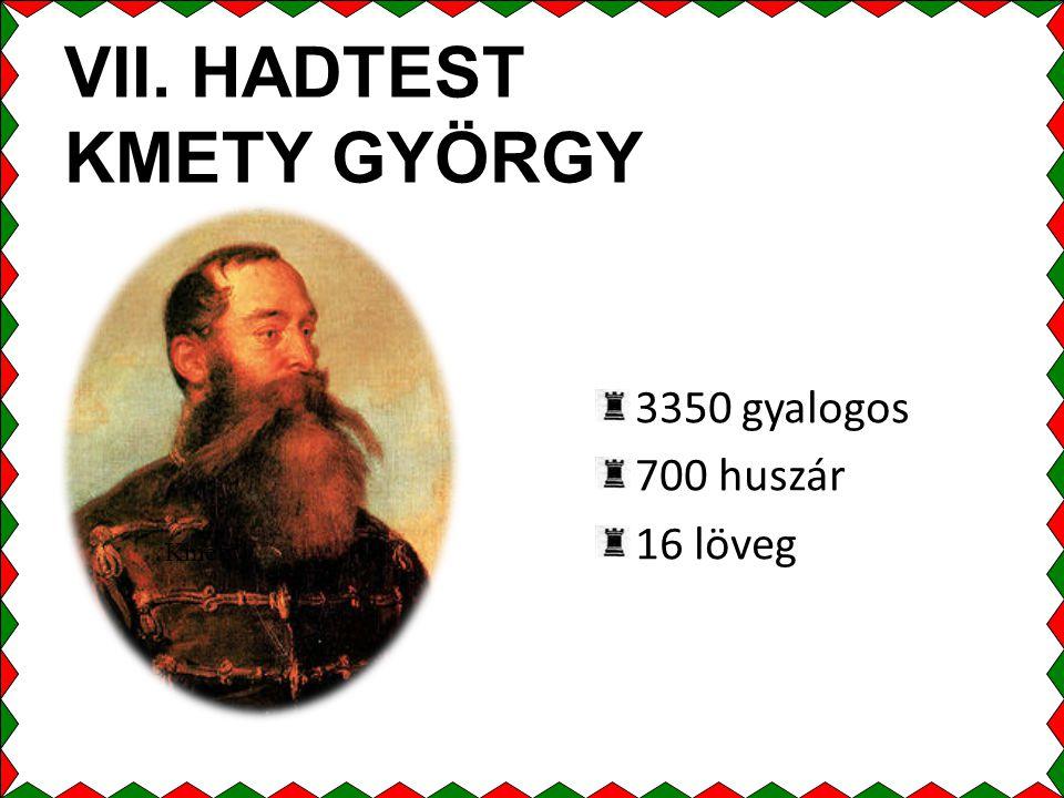 VII. HADTEST KMETY GYÖRGY 3350 gyalogos 700 huszár 16 löveg Kmety