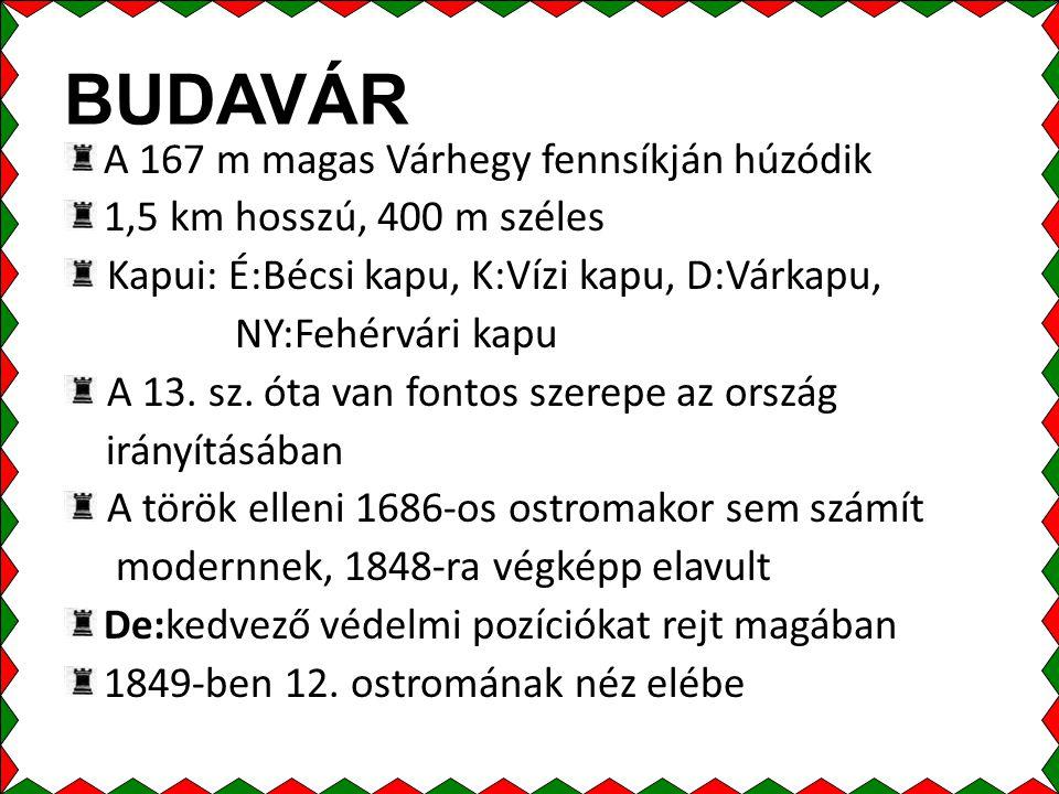 BUDAVÁR A 167 m magas Várhegy fennsíkján húzódik 1,5 km hosszú, 400 m széles Kapui: É:Bécsi kapu, K:Vízi kapu, D:Várkapu, NY:Fehérvári kapu A 13.