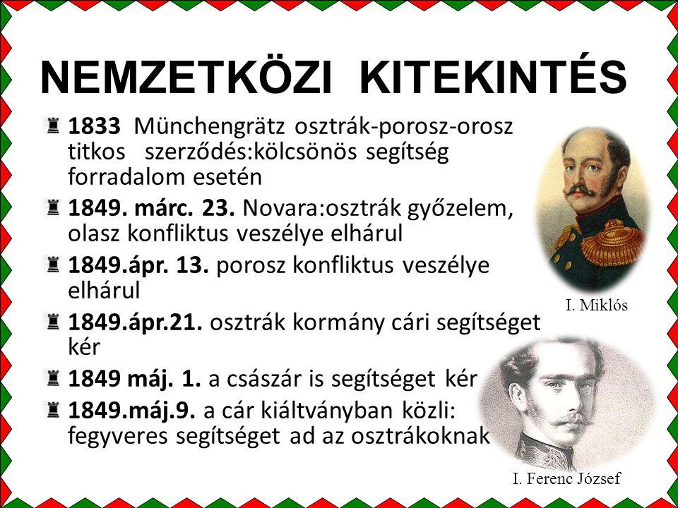 NEMZETKÖZI KITEKINTÉS 1833 Münchengrätz osztrák-porosz-orosz titkos szerződés:kölcsönös segítség forradalom esetén 1849.