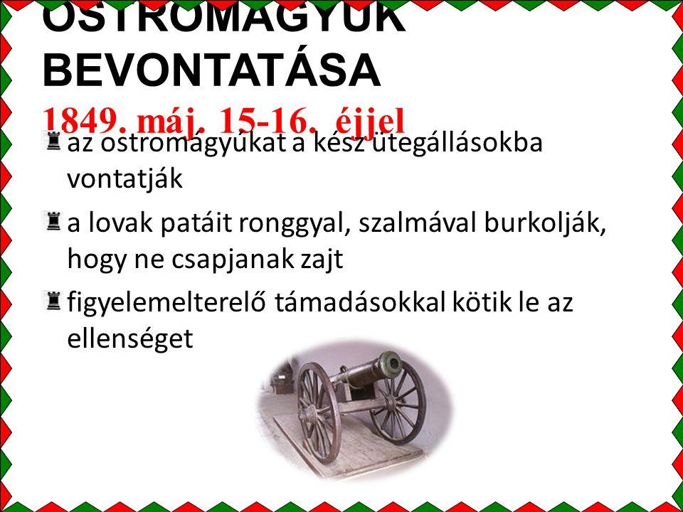 OSTROMÁGYÚK BEVONTATÁSA 1849.máj. 15-16.