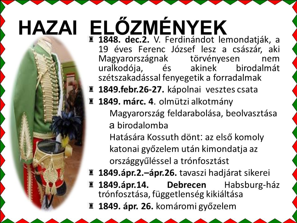 GYÜLEKEZŐ VIHARFELHŐK 1849.máj. 21. Varsó I. Ferenc József és I.
