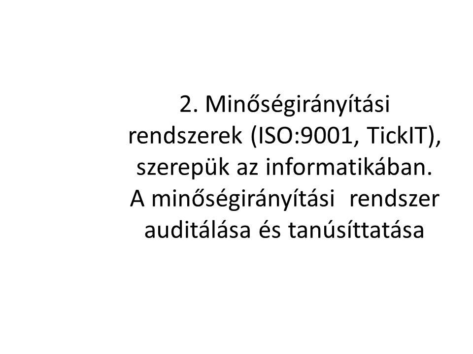 2. Minőségirányítási rendszerek (ISO:9001, TickIT), szerepük az informatikában. A minőségirányítási rendszer auditálása és tanúsíttatása