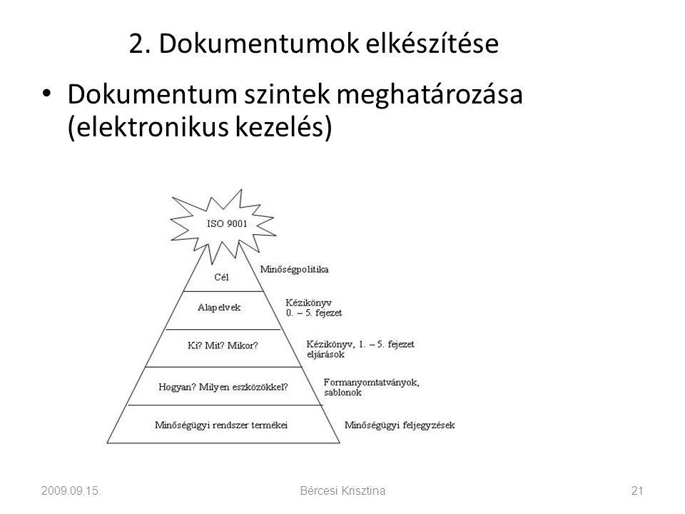 2. Dokumentumok elkészítése • Dokumentum szintek meghatározása (elektronikus kezelés) 2009.09.15.Bércesi Krisztina21