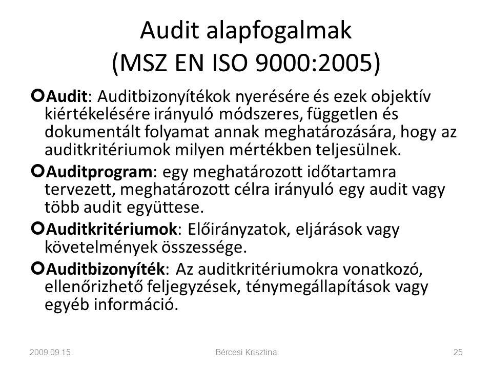 Audit alapfogalmak (MSZ EN ISO 9000:2005) Audit: Auditbizonyítékok nyerésére és ezek objektív kiértékelésére irányuló módszeres, független és dokument