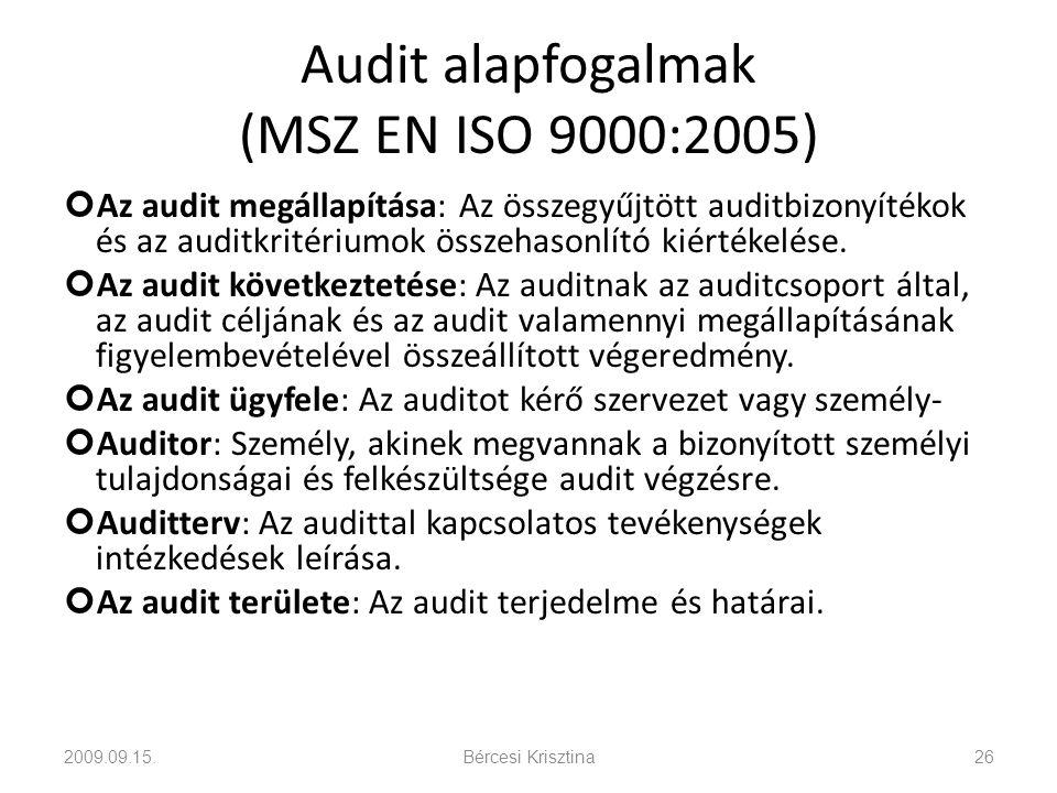 Audit alapfogalmak (MSZ EN ISO 9000:2005) Az audit megállapítása: Az összegyűjtött auditbizonyítékok és az auditkritériumok összehasonlító kiértékelés