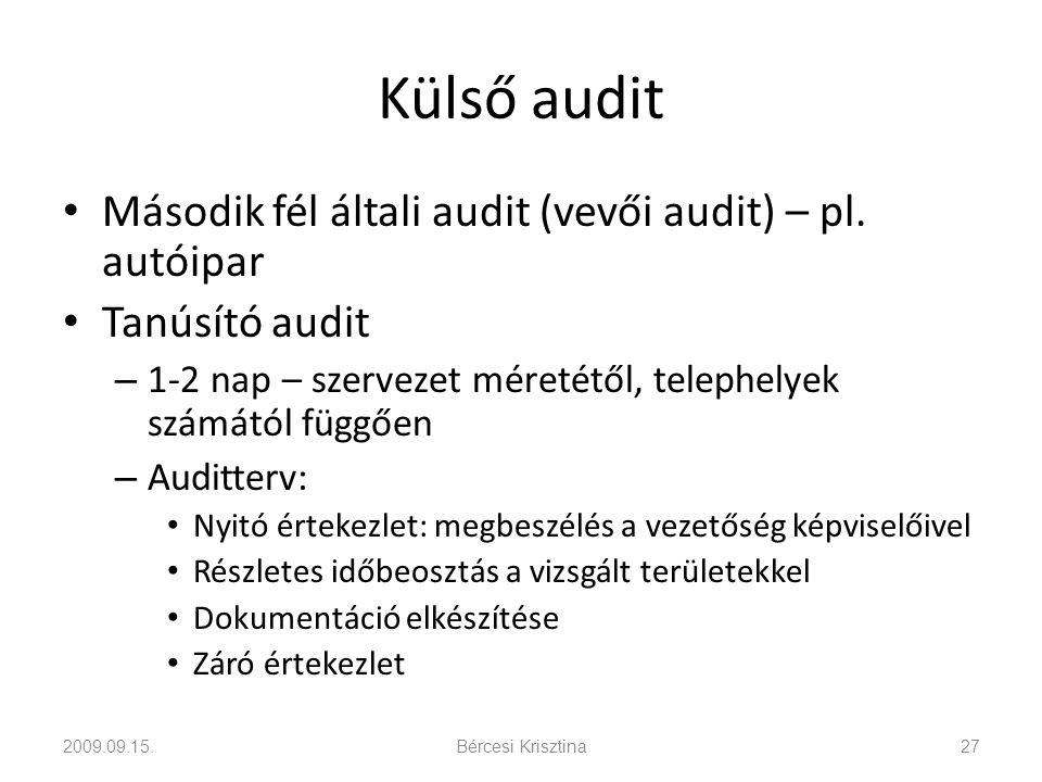 Külső audit • Második fél általi audit (vevői audit) – pl. autóipar • Tanúsító audit – 1-2 nap – szervezet méretétől, telephelyek számától függően – A