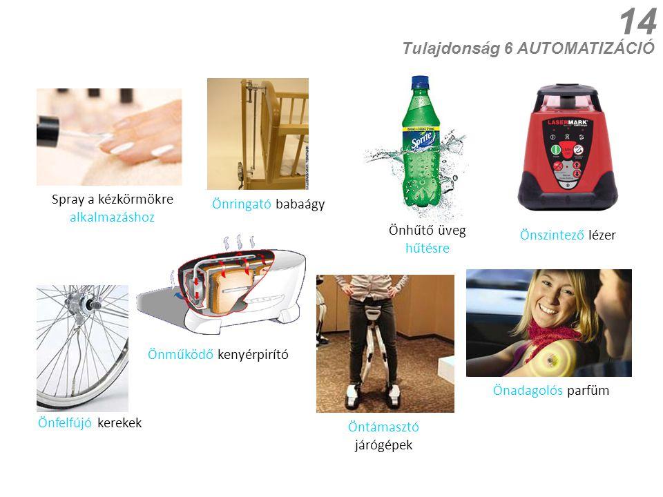14 Önszintező lézer Spray a kézkörmökre alkalmazáshoz Önfelfújó kerekek Önműködő kenyérpirító Tulajdonság 6 AUTOMATIZÁCIÓ Önringató babaágy Önadagolós