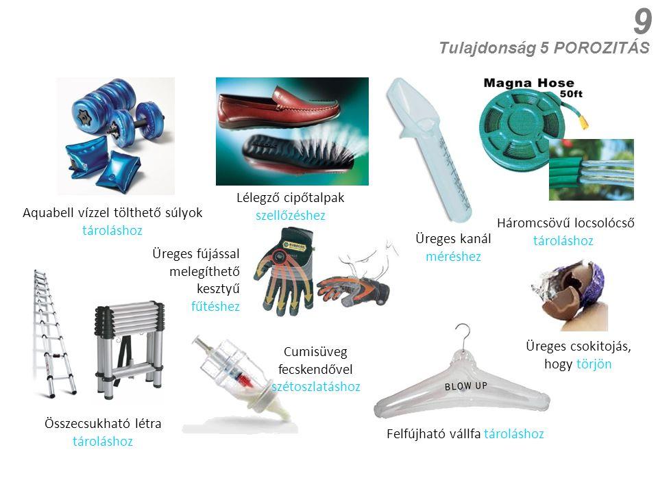 9 Aquabell vízzel tölthető súlyok tároláshoz Lélegző cipőtalpak szellőzéshez Tulajdonság 5 POROZITÁS Háromcsövű locsolócső tároláshoz Üreges csokitojá