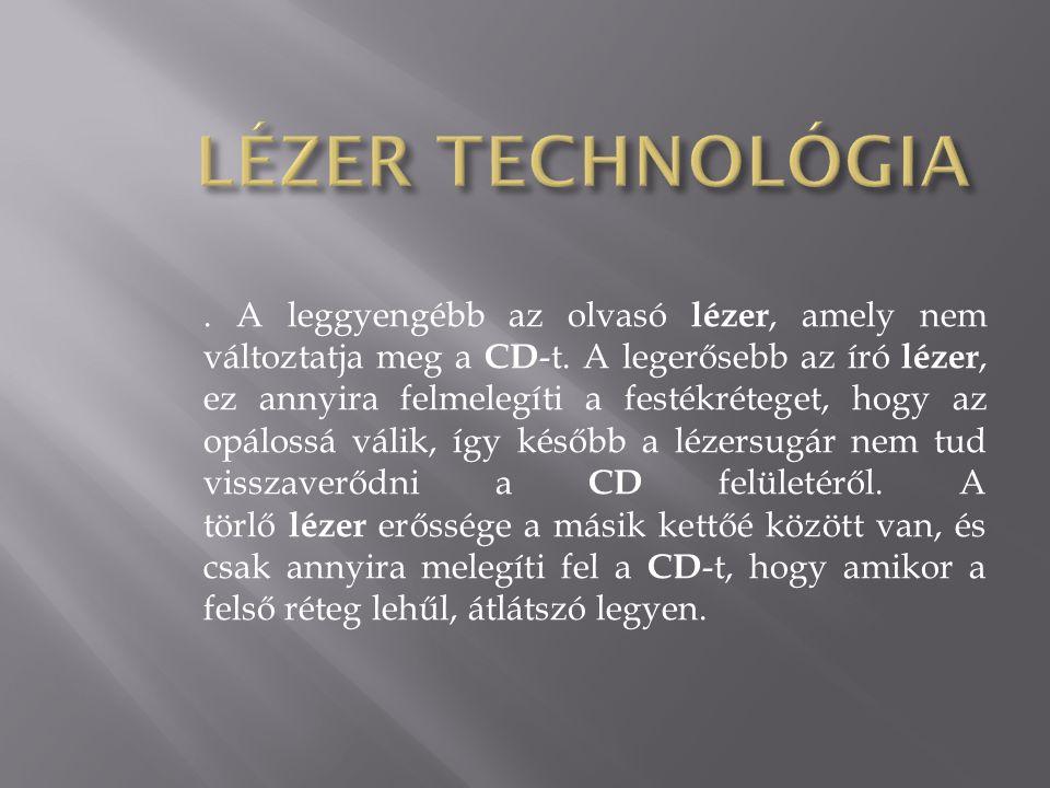 . A leggyengébb az olvasó lézer, amely nem változtatja meg a CD -t. A legerősebb az író lézer, ez annyira felmelegíti a festékréteget, hogy az opáloss