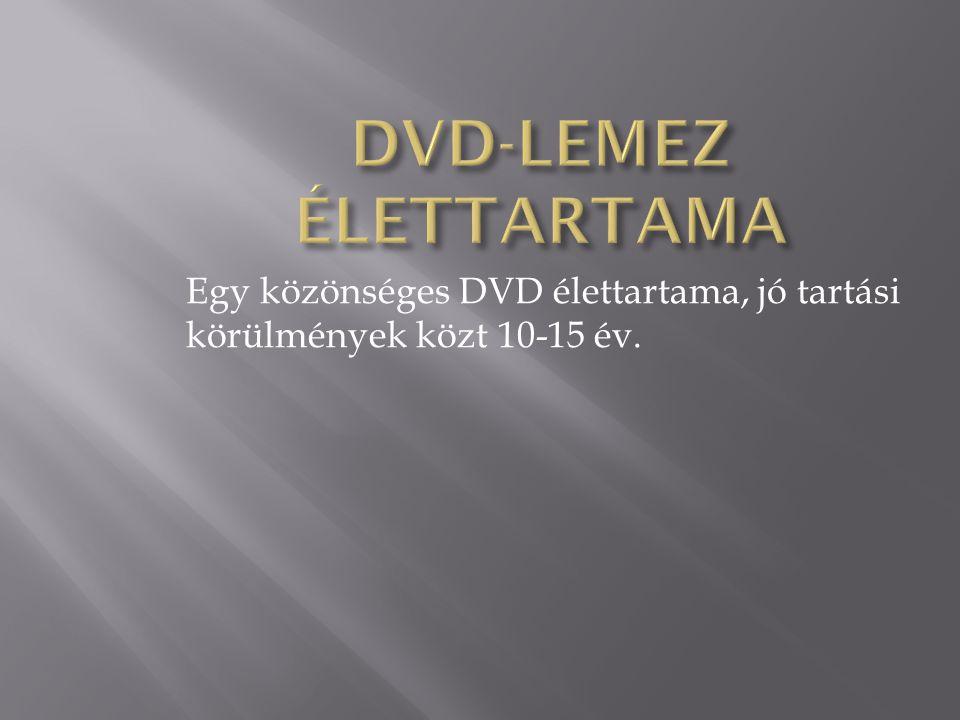 Egy közönséges DVD élettartama, jó tartási körülmények közt 10-15 év.
