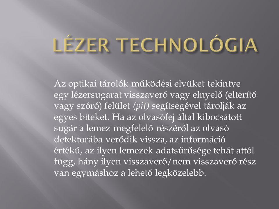 Az optikai tárolók működési elvüket tekintve egy lézersugarat visszaverő vagy elnyelő (eltérítő vagy szóró) felület (pit) segítségével tárolják az egy
