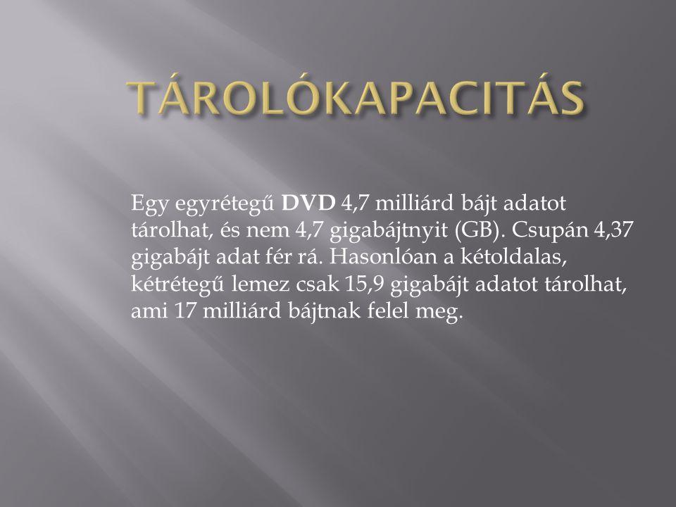 Egy egyrétegű DVD 4,7 milliárd bájt adatot tárolhat, és nem 4,7 gigabájtnyit (GB). Csupán 4,37 gigabájt adat fér rá. Hasonlóan a kétoldalas, kétrétegű