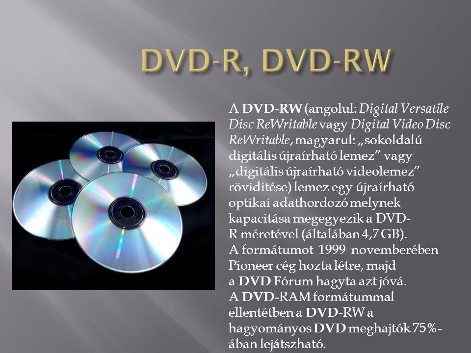 """A DVD-RW (angolul: Digital Versatile Disc ReWritable vagy Digital Video Disc ReWritable, magyarul: """"sokoldalú digitális újraírható lemez vagy """"digitális újraírható videolemez rövidítése) lemez egy újraírható optikai adathordozó melynek kapacitása megegyezik a DVD- R méretével (általában 4,7 GB)."""