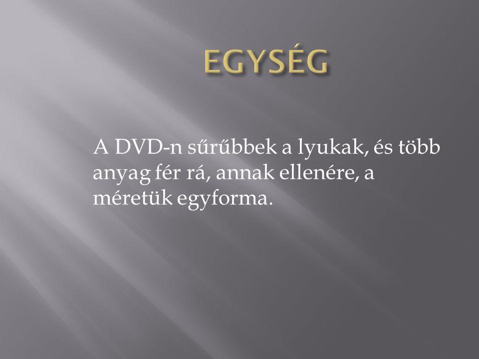 A DVD-n sűrűbbek a lyukak, és több anyag fér rá, annak ellenére, a méretük egyforma.