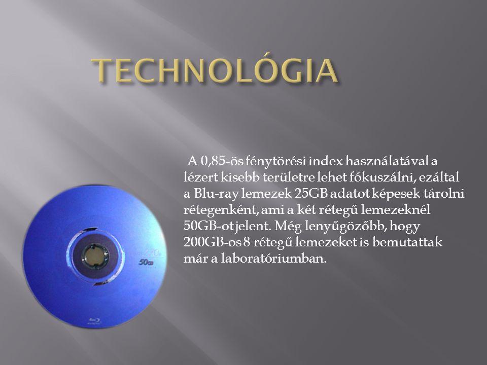 A 0,85-ös fénytörési index használatával a lézert kisebb területre lehet fókuszálni, ezáltal a Blu-ray lemezek 25GB adatot képesek tárolni rétegenként