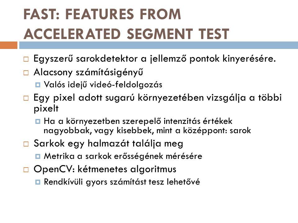 FAST: FEATURES FROM ACCELERATED SEGMENT TEST  Egyszerű sarokdetektor a jellemző pontok kinyerésére.  Alacsony számításigényű  Valós idejű videó-fel