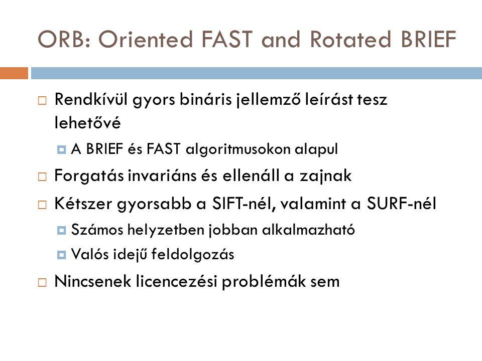 ORB: Oriented FAST and Rotated BRIEF  Rendkívül gyors bináris jellemző leírást tesz lehetővé  A BRIEF és FAST algoritmusokon alapul  Forgatás invariáns és ellenáll a zajnak  Kétszer gyorsabb a SIFT-nél, valamint a SURF-nél  Számos helyzetben jobban alkalmazható  Valós idejű feldolgozás  Nincsenek licencezési problémák sem