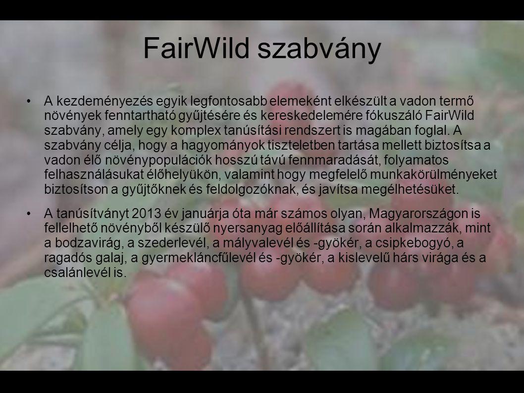 FairWild szabvány •A kezdeményezés egyik legfontosabb elemeként elkészült a vadon termő növények fenntartható gyűjtésére és kereskedelemére fókuszáló
