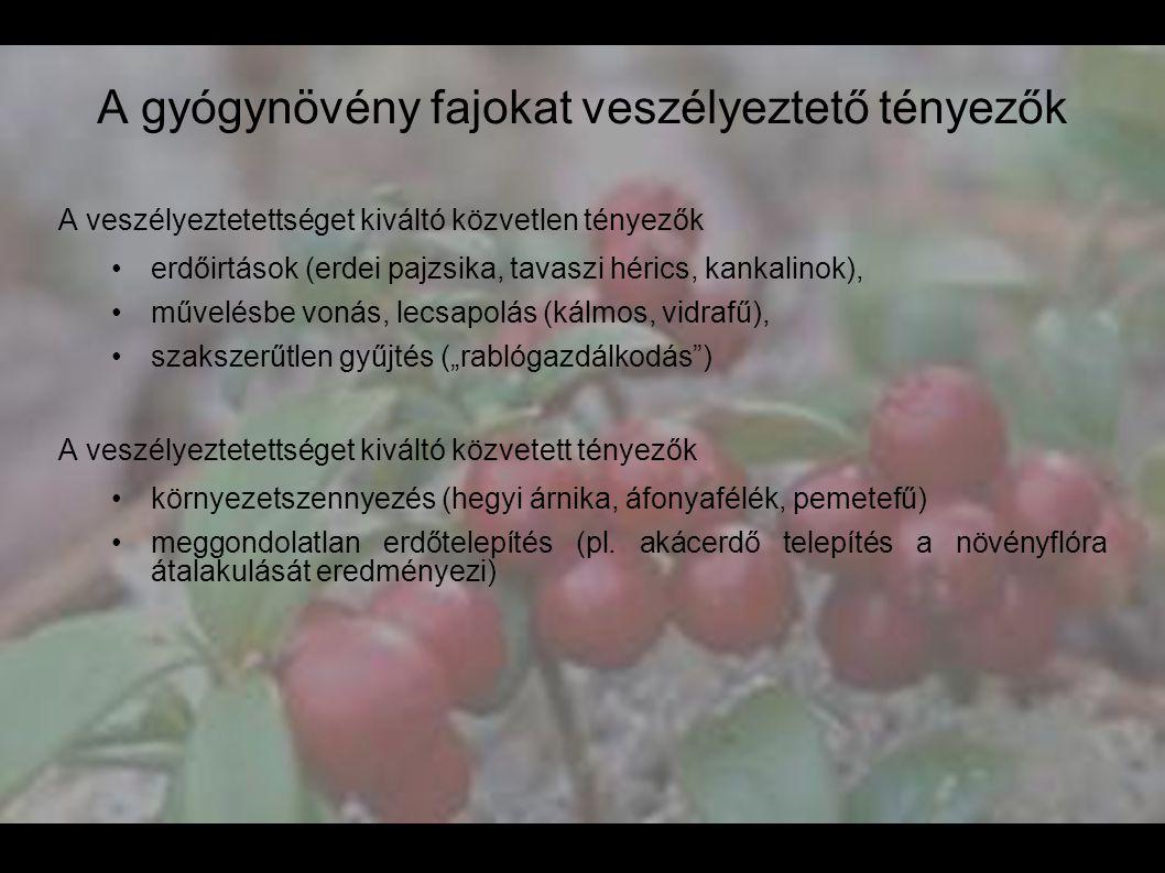 A gyógynövény fajokat veszélyeztető tényezők A veszélyeztetettséget kiváltó közvetlen tényezők •erdőirtások (erdei pajzsika, tavaszi hérics, kankalino