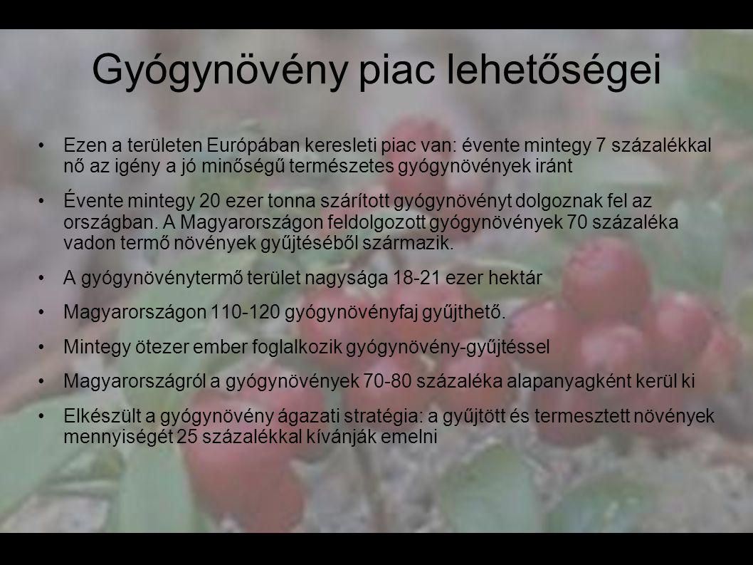 Gyógynövény piac lehetőségei •Ezen a területen Európában keresleti piac van: évente mintegy 7 százalékkal nő az igény a jó minőségű természetes gyógyn