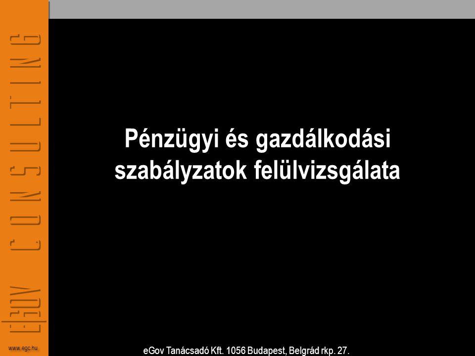 eGov Tanácsadó Kft. 1056 Budapest, Belgrád rkp. 27. www.egc.hu Pénzügyi és gazdálkodási szabályzatok felülvizsgálata