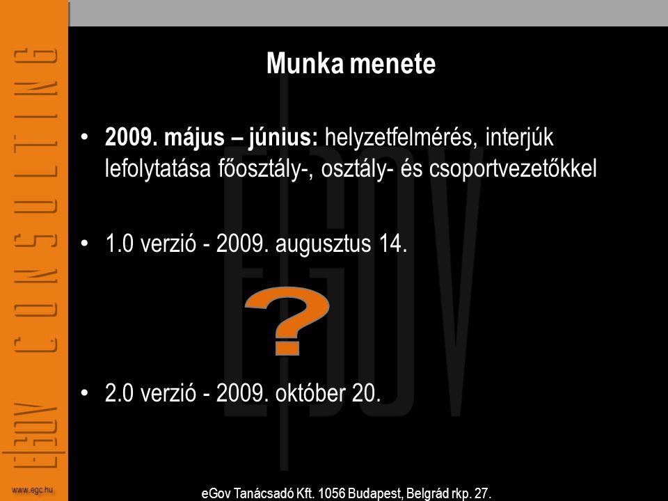 eGov Tanácsadó Kft. 1056 Budapest, Belgrád rkp. 27. www.egc.hu Munka menete • 2009. május – június: helyzetfelmérés, interjúk lefolytatása főosztály-,