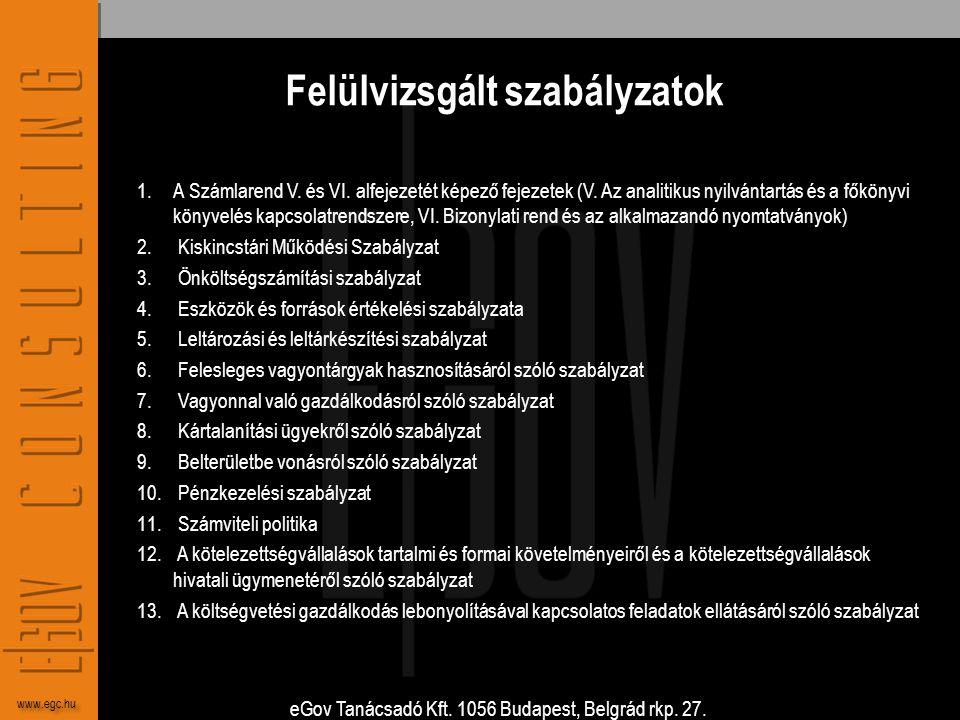 eGov Tanácsadó Kft. 1056 Budapest, Belgrád rkp. 27. www.egc.hu Felülvizsgált szabályzatok 1.A Számlarend V. és VI. alfejezetét képező fejezetek (V. Az