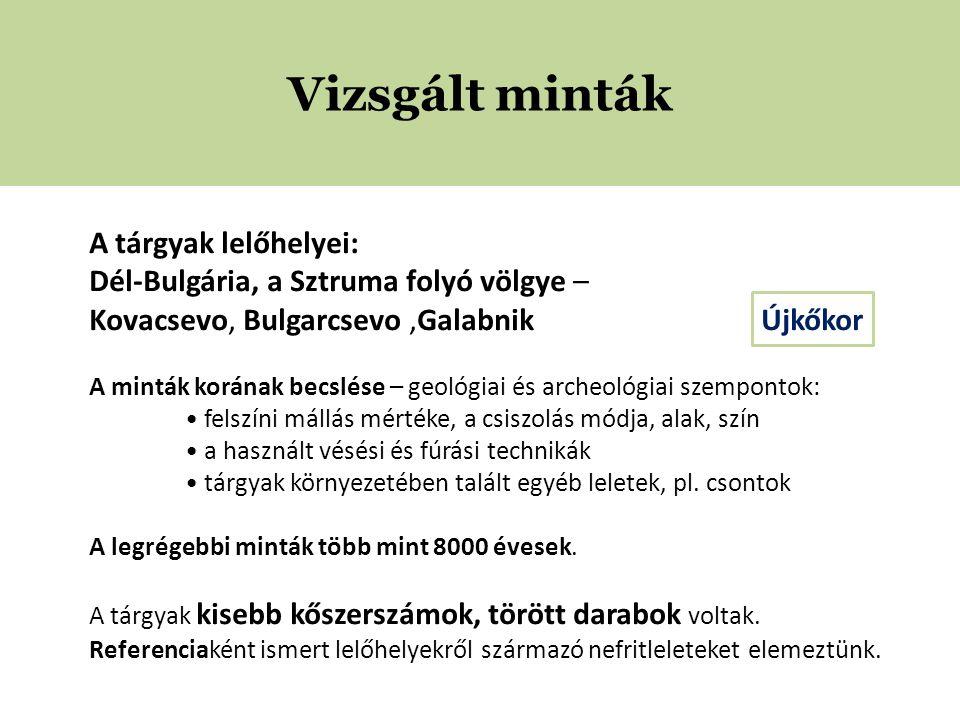 Vizsgált minták A tárgyak lelőhelyei: Dél-Bulgária, a Sztruma folyó völgye – Kovacsevo, Bulgarcsevo,Galabnik Újkőkor A minták korának becslése – geológiai és archeológiai szempontok: • felszíni mállás mértéke, a csiszolás módja, alak, szín • a használt vésési és fúrási technikák • tárgyak környezetében talált egyéb leletek, pl.