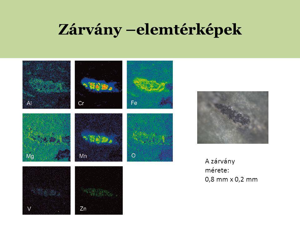 Zárvány –elemtérképek A zárvány mérete: 0,8 mm x 0,2 mm
