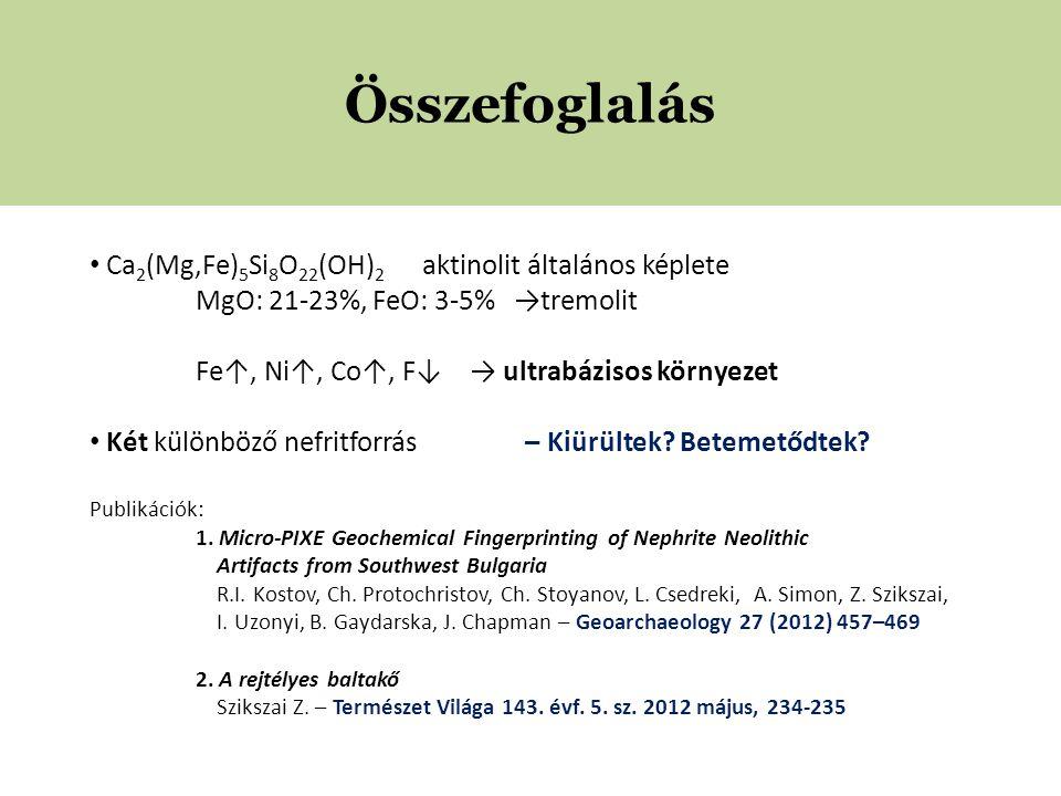 Összefoglalás • Ca 2 (Mg,Fe) 5 Si 8 O 22 (OH) 2 aktinolit általános képlete MgO: 21-23%, FeO: 3-5% →tremolit Fe↑, Ni↑, Co↑, F↓ → ultrabázisos környezet • Két különböző nefritforrás – Kiürültek.